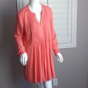 Coral tunic peasant style top